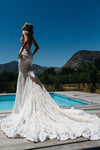 V-Neck Ruched Backless Lace Pockets Mermaid White Wedding Dress With Court Train