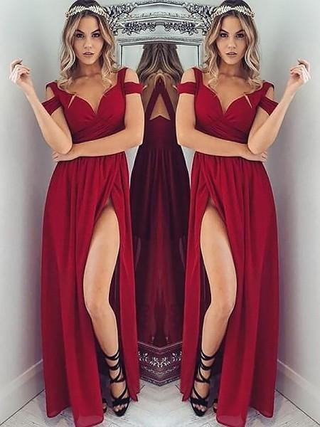 Red chiffon off-shoulder slit long dress summer prom