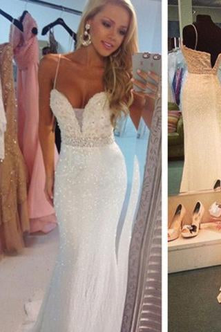 Prom Dresses Sexy Mermaid Spaghetti Strap Crystal Floor Length Formal Occasion Dress