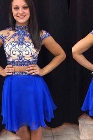Royal Blue Short Prom Dresses Chiffon Fitted Party Dress Silver Beading Sparkly Cocktail Dress