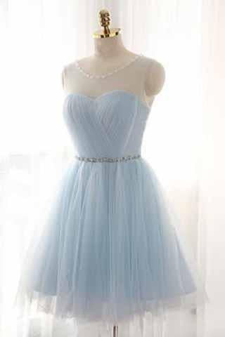 Light Sky Blue Short Prom Dress Sleeveless Open Back Scoop Homecoming Dresses