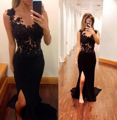 Pretty Mermaid Black Lace Beading Sweetheart With Slit Modest Cheap Prom Dresses