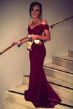 Mermaid Off Shoulder Burgundy Lace Sexy Mermaid Elegant Graduation Dresses