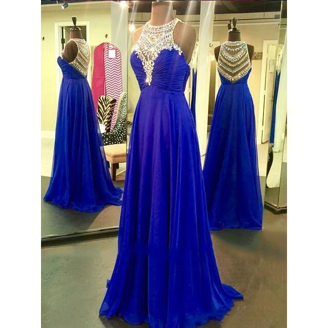 Royal Blue Sparkle Beads Halter Pretty Illusion High Neck Chiffon Prom Dresses
