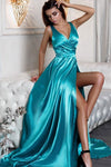 Sexy A Line Split Turquoise V-Neck Green Satin Prom Dresses with High Slit