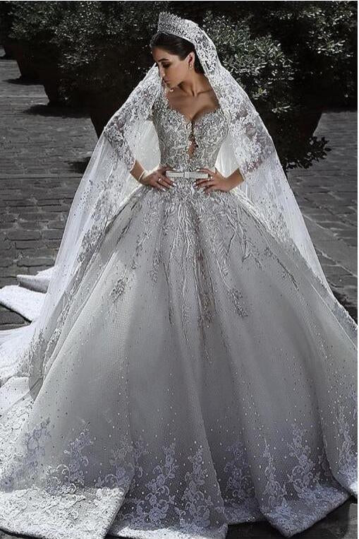 Sexy Ball Gown Sweetheart Long Sleeve Lace Appliques Tulle Long Wedding Dresses