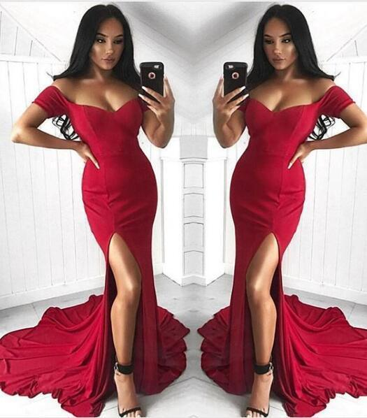 Sexy Mermaid Off the Shoulder Slit Sweetheart Short Sleeve Satin Long Prom Dresses