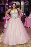 Strapless Ball Gown Beads Pink Sweetheart Plus Size Lace up Sleeveless Evening Dresses