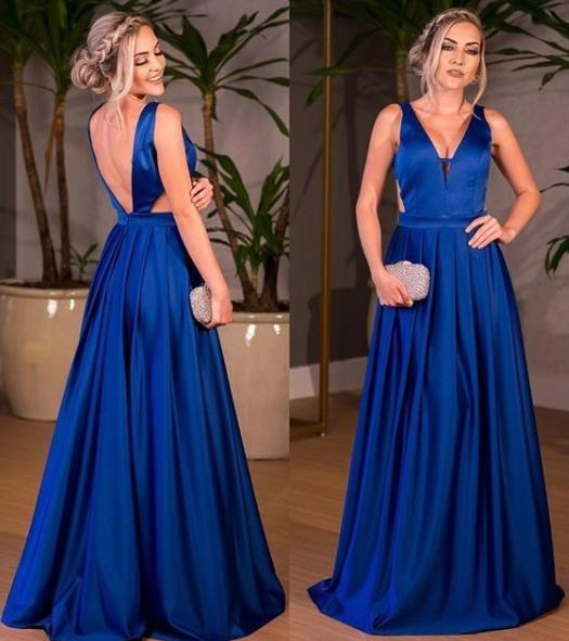Royal Blue Satin V-neck A-line Floor-length Ruched Backless Prom Dresses