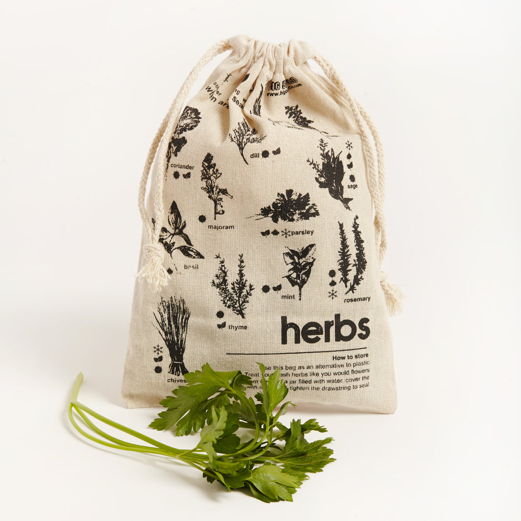 PLASTIC FREE LINEN PRODUCE BAG - HERB