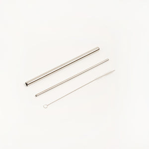 PLASTIC FREE STAINLESS STEEL STRAW SET WITH BUBBLE TEA/SMOOTHIE STRAW - 3 PIECE