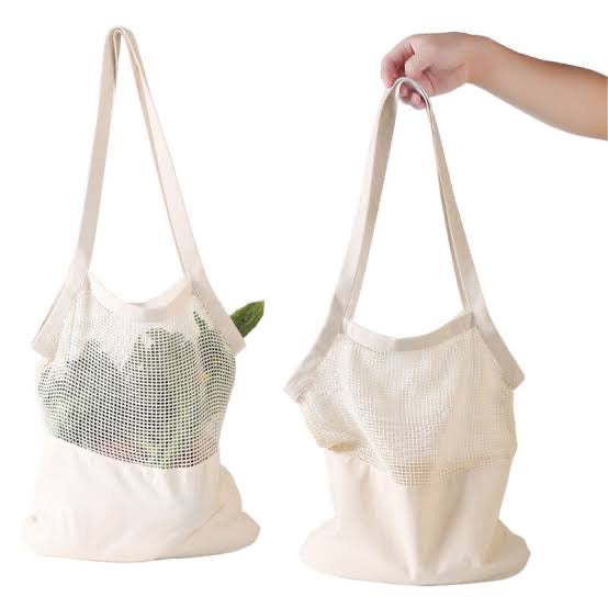 HALF AND HALF MESH SHOPPING TOTE