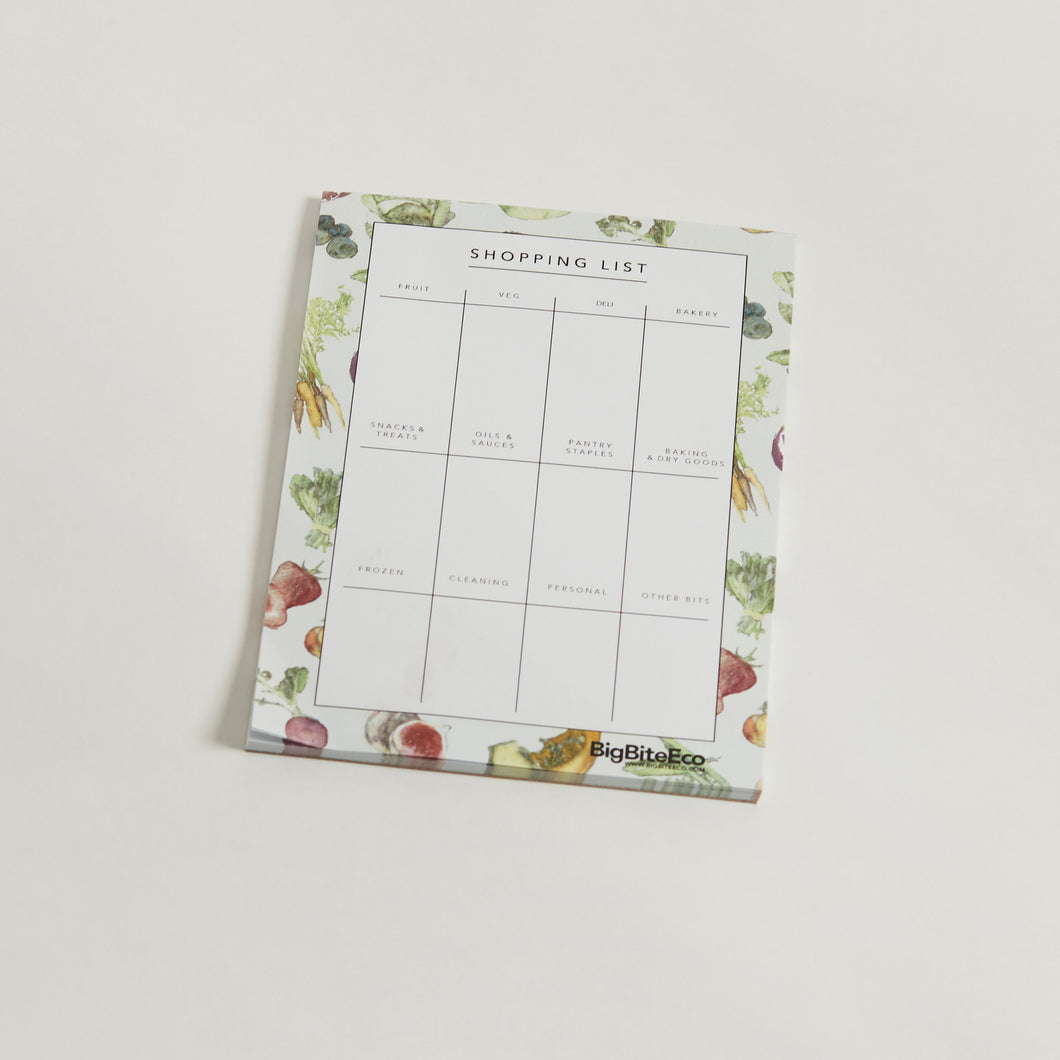 NOTEPAD SHOPPING LIST 100% RECYCLED PAPER WITH MAGNET  Never forget anything at the supermarket again!  Use these handy little notepads to remember all those little bits and pieces you need in the kitchen and around the house.  They've got a little magnet on the back so you can pop them on the fridge and never lose them.  When you're better organised you save more time and don't double up on things you already have!  Win win!