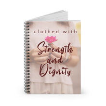 Load image into Gallery viewer, Strength & Dignity Accompaniment Journal- rule lined, spiral bound