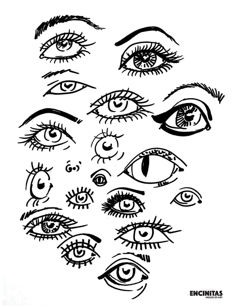 Funky Eyes Coloring Page