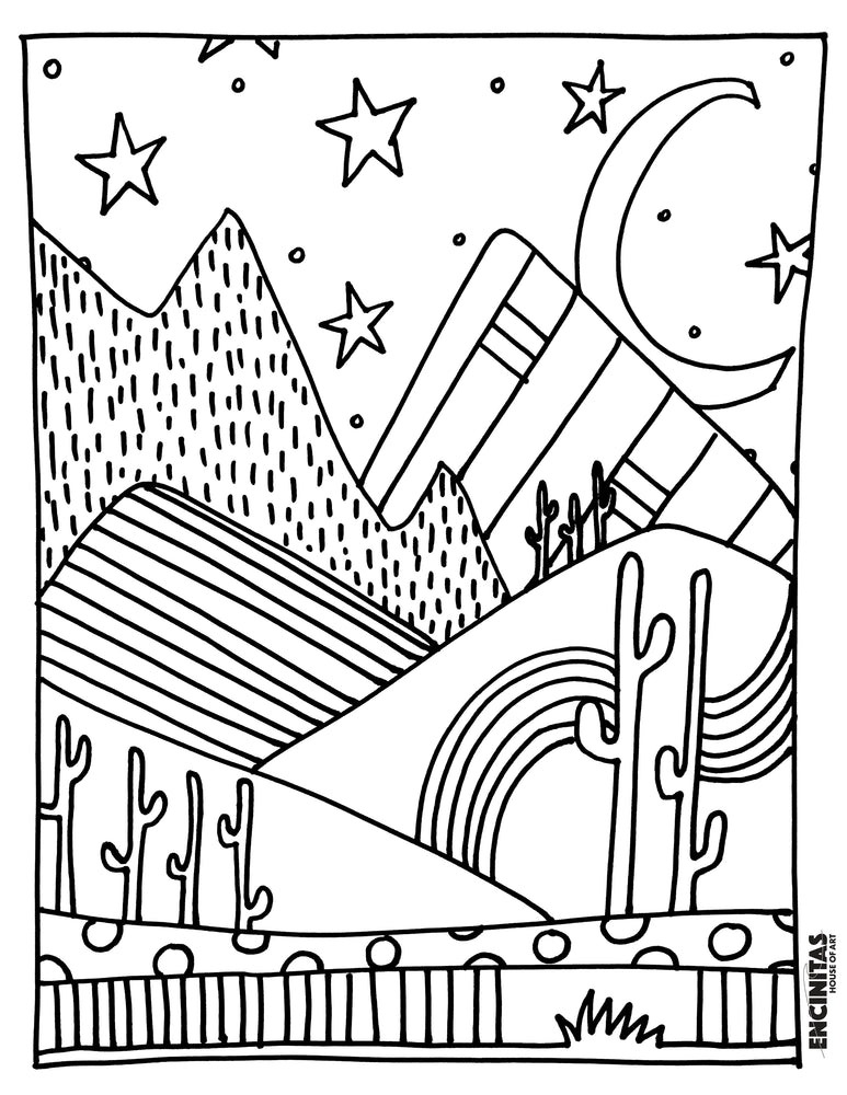Peaceful Desert Evening Coloring Page