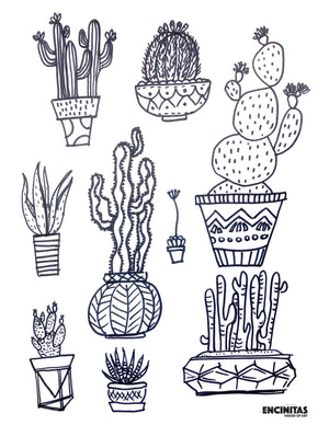 Cactus Collection Coloring Page
