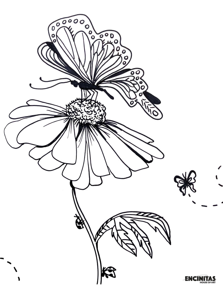 Load image into Gallery viewer, Butterfly on Flower Coloring Page