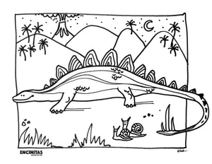 Load image into Gallery viewer, Dinosaur Coloring Page