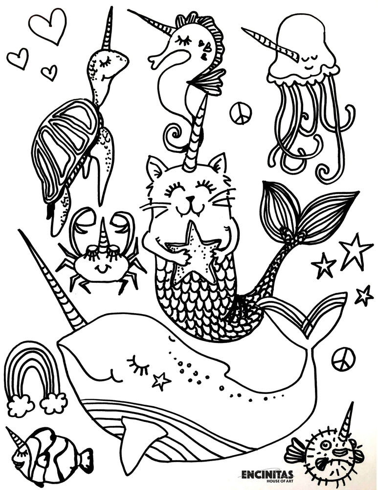 Unicorn Sea Creatures Coloring Page