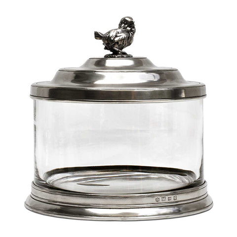 Bassano Biscuit Jar - Bird - 3.6 L - Handcrafted in Italy - Pewter & Glass