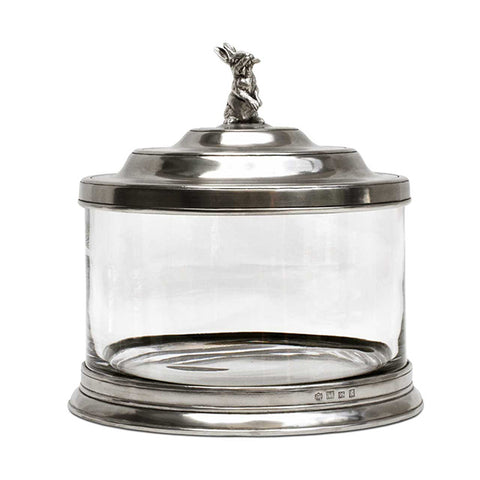 Bassano Biscuit Jar - Hare - 3.6 L - Handcrafted in Italy - Pewter & Glass