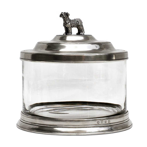 Bassano Glass Pet Storage Jar - 3.6 L - Handcrafted in Italy - Pewter & Glass