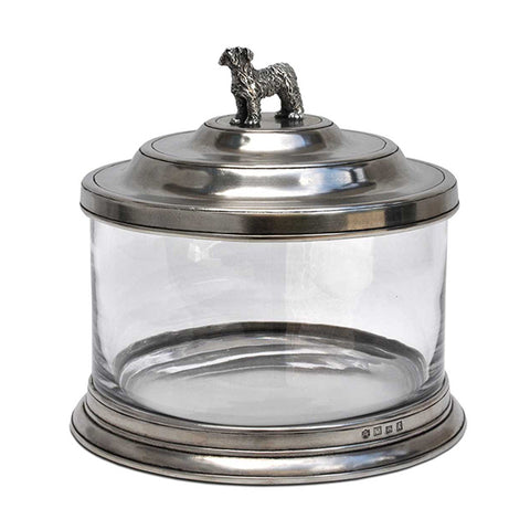 Bassano Biscuit Jar - Dog - 3.6 L - Handcrafted in Italy - Pewter & Glass