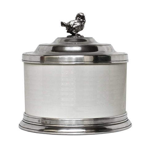 Convivio White Ceramic Biscuit Jar - Bird - 3.6 L - Handcrafted in Italy - Pewter & Ceramic