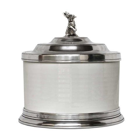 Convivio Biscuit Jar - Hare - 3.6 L - Handcrafted in Italy - Pewter & Ceramic