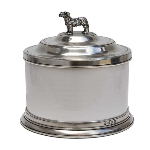 Convivio White Ceramic Biscuit Jar - Dog - 3.6 L - Handcrafted in Italy - Pewter & Ceramic