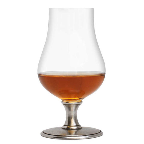 Abbazia Bourbon Glass (Set of 2) - 22 cl - Handcrafted in Italy - Pewter & Crystal