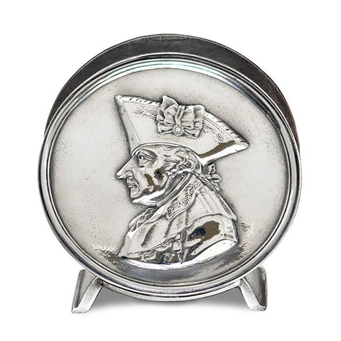 Art Nouveau-Style Frederick the Great Napkin Holder - Handcrafted in Italy - Pewter/Britannia Metal