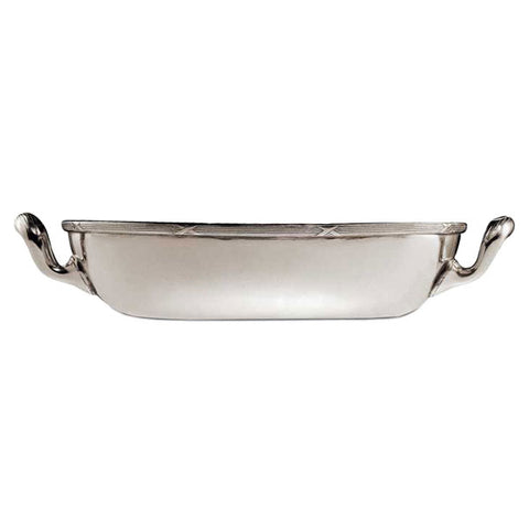 Andrea Doria Oval Bowl (with handles) - 23.5 cm x 17.5 cm - Handcrafted in Italy - Pewter