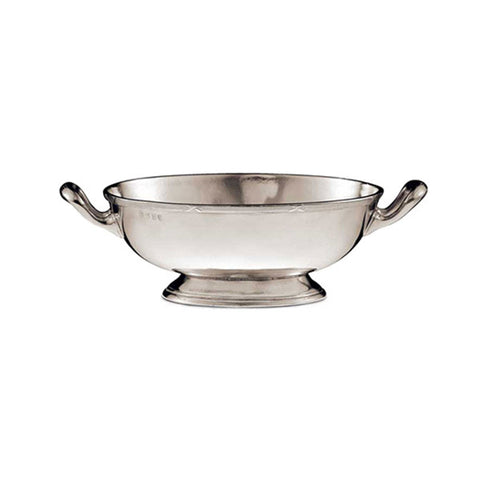 Andrea Doria Oval Footed Bowl (with handles) - 25 cm x 20 cm - Handcrafted in Italy - Pewter