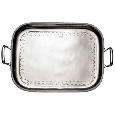 Andrea Doria Rectangular Tray with Handles - 36.5 cm x 28.5 cm - Handcrafted in Italy - Pewter