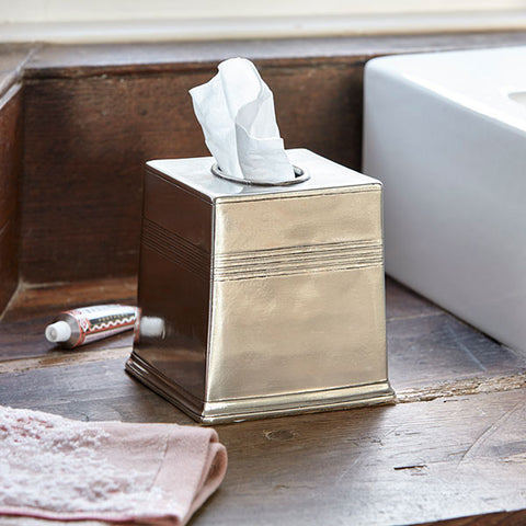 Anelli Tissue Box Cover - 13.5 cm x 13.5 cm x 14 cm Height - Handcrafted in Italy - Pewter