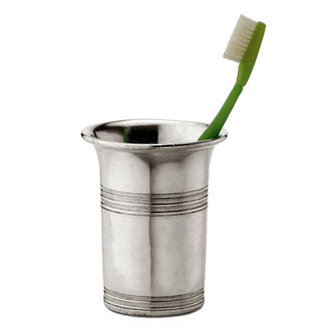 Anelli Toothbrush Cup - 10 cm Height - Handcrafted in Italy - Pewter