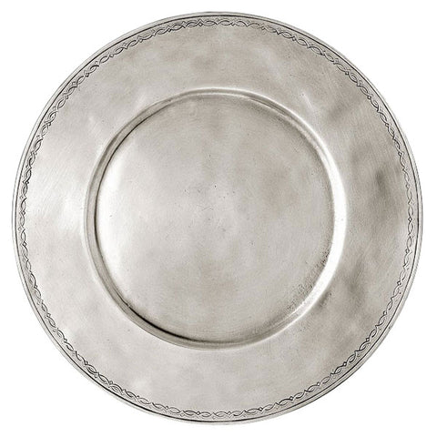 Antioco Decorated Charger - 31.5 cm Diameter - Handcrafted in Italy - Pewter