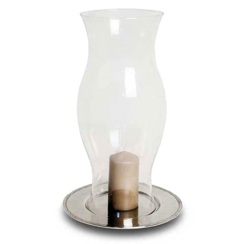 Antioco Hurricane Lamp - 50 cm Height - Handcrafted in Italy - Pewter & Glass