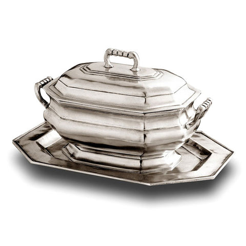 Arezzo Octagonal Tureen Set - 2.4 L - Handcrafted in Italy - Pewter