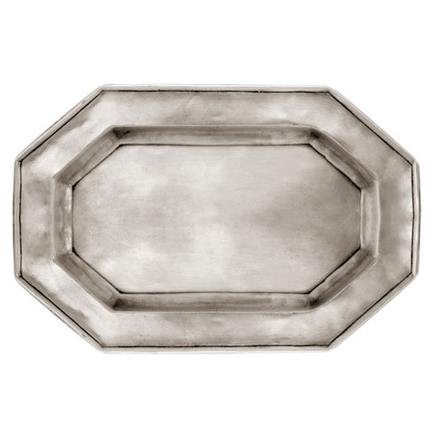 Arezzo Octagonal Tray - 34.5 cm x 24 cm - Handcrafted in Italy - Pewter