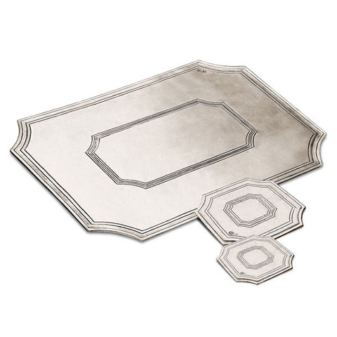 Arezzo Octagonal Coaster (Set of 2) - 9 cm x 9 cm - Handcrafted in Italy - Pewter