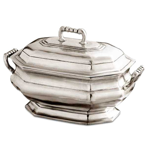 Arezzo Octagonal Tureen - 2.4 L - Handcrafted in Italy - Pewter