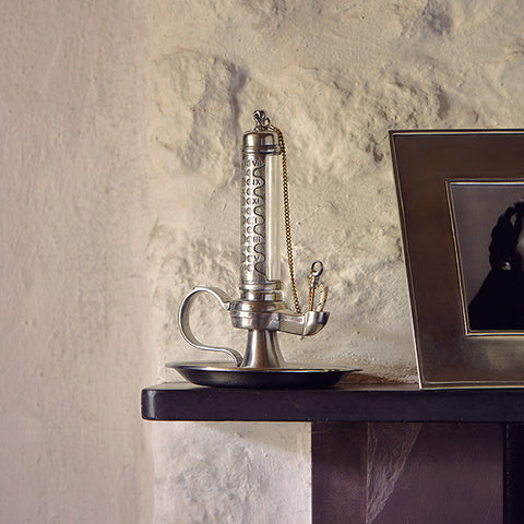 Assisi Vegetable Oil Lamp - 21.5 cm Height - Handcrafted in Italy - Pewter & Glass