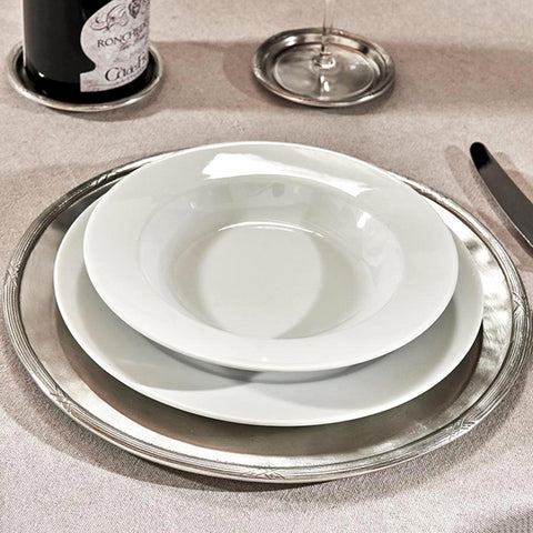 Andrea Doria Scribe Rimmed Charger - 32 cm Diameter - Handcrafted in Italy - Pewter