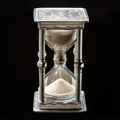 Archimède Hourglass - 11.5 cm Height - Handcrafted in Italy - Pewter & Glass