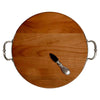 Arezzo Handled Cutting Board - 35.5 cm Diameter - Handcrafted in Italy - Pewter & Cherry Wood