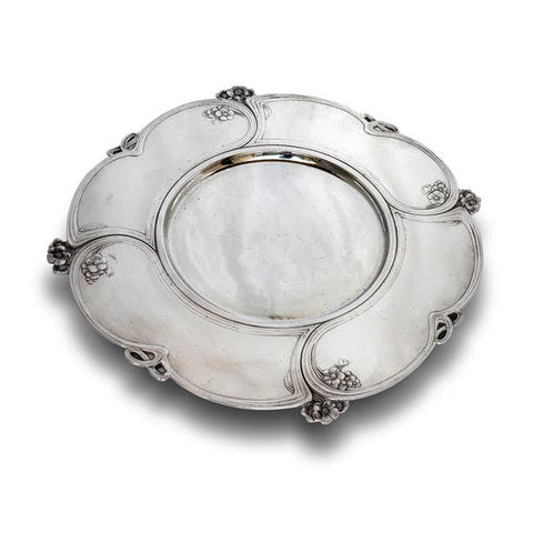 Art Nouveau-Style Fiori Charger - 31 cm Diameter - Handcrafted in Italy - Pewter/Britannia Metal
