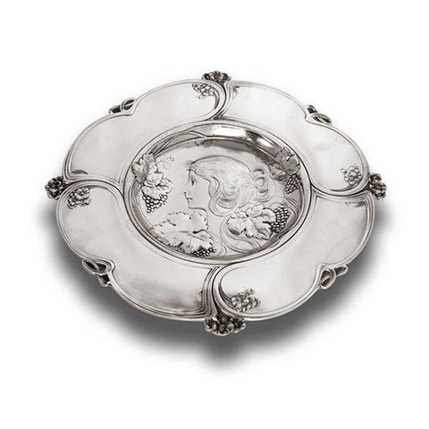 Art Nouveau-Style Donna Decorative Wall Plate - Woman with Grapes - 31 cm Diameter - Handcrafted in Italy - Pewter/Britannia Metal